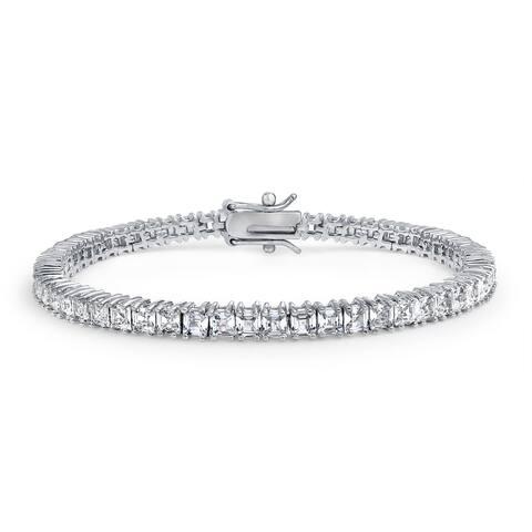 Square Asscher Cut CZ Channel Set Classic Tennis Bracelet For Women Brides Prom Cubic Zirconia Silver Plated Brass