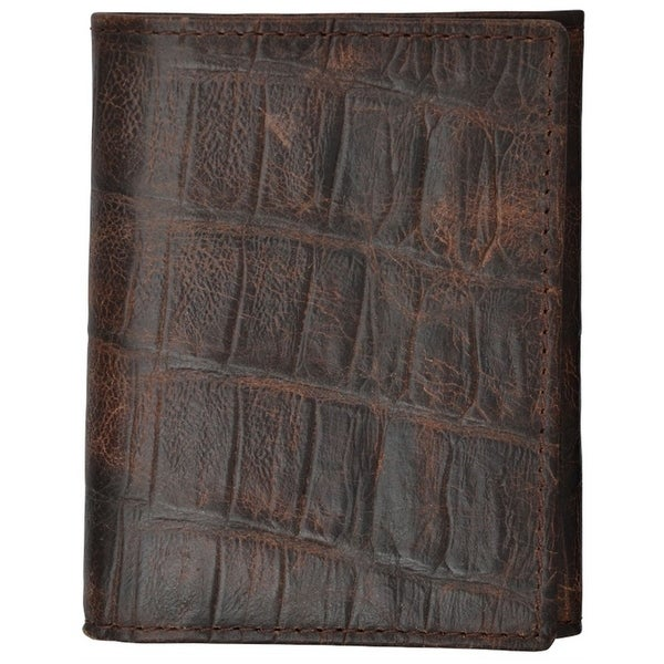 3D Western Wallet Mens Basic Trifold Gator Print Slots Cognac - One size
