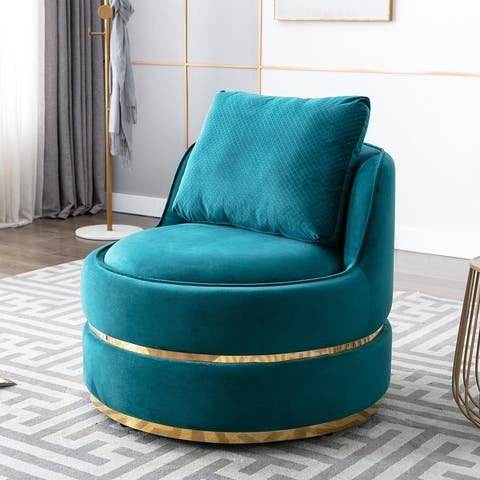 "Elegant 32.8"" Round Swivel Barrel Chair"