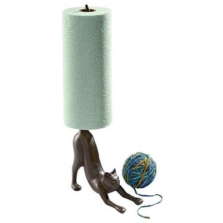 Design Toscano Kitty Crouch Cast Iron Paper Towel Holder Cat Statue
