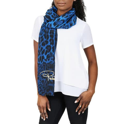 Roberto Cavalli C3S07D120 330 Blue Animal Print Shawl - 55-63