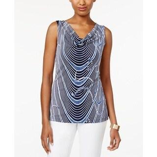Tahari Womens Tank Top Pattern Drape Neck