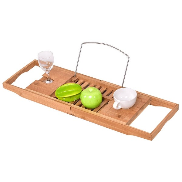 Shop Costway Bamboo Bathtub Rack Caddy Shower Book Tray Shelf Wine ...
