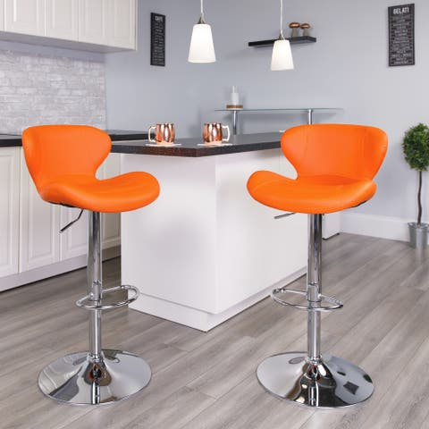 "Contemporary Vinyl Adjustable Barstool with Curved Back & Chrome Base - 19.25""W x 19""D x 33.75"" - 42.25""H"