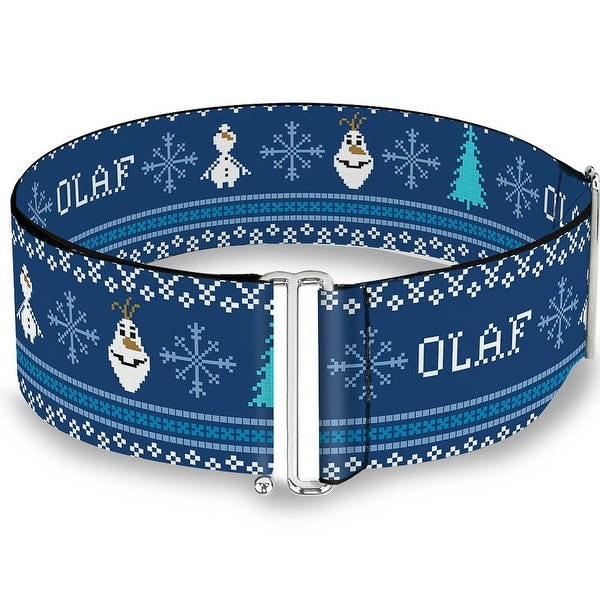 Olaf Snowflakes Stitch Blues White Cinch Waist Belt ONE SIZE