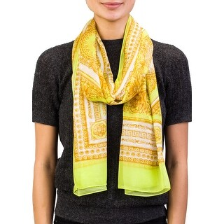 Versace Women's Baroque Pattern Modal Cashmere Blend Scarf Yellow Large - no size