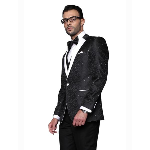 BELLAGIO Men's 3pc BLACK Suit, Modern Fit, 2 Button, 2 Side Vent, solid black Flat Front Pants