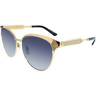 Gucci Anti-reflective GG0074SK-003-5 Gold Butterfly Sunglasses