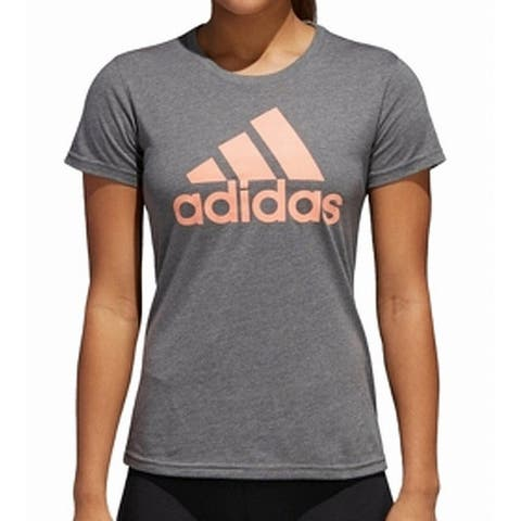 Adidas Womens Tops Grayn Coral Pink Size XL Knit Short Sleeve Graphic