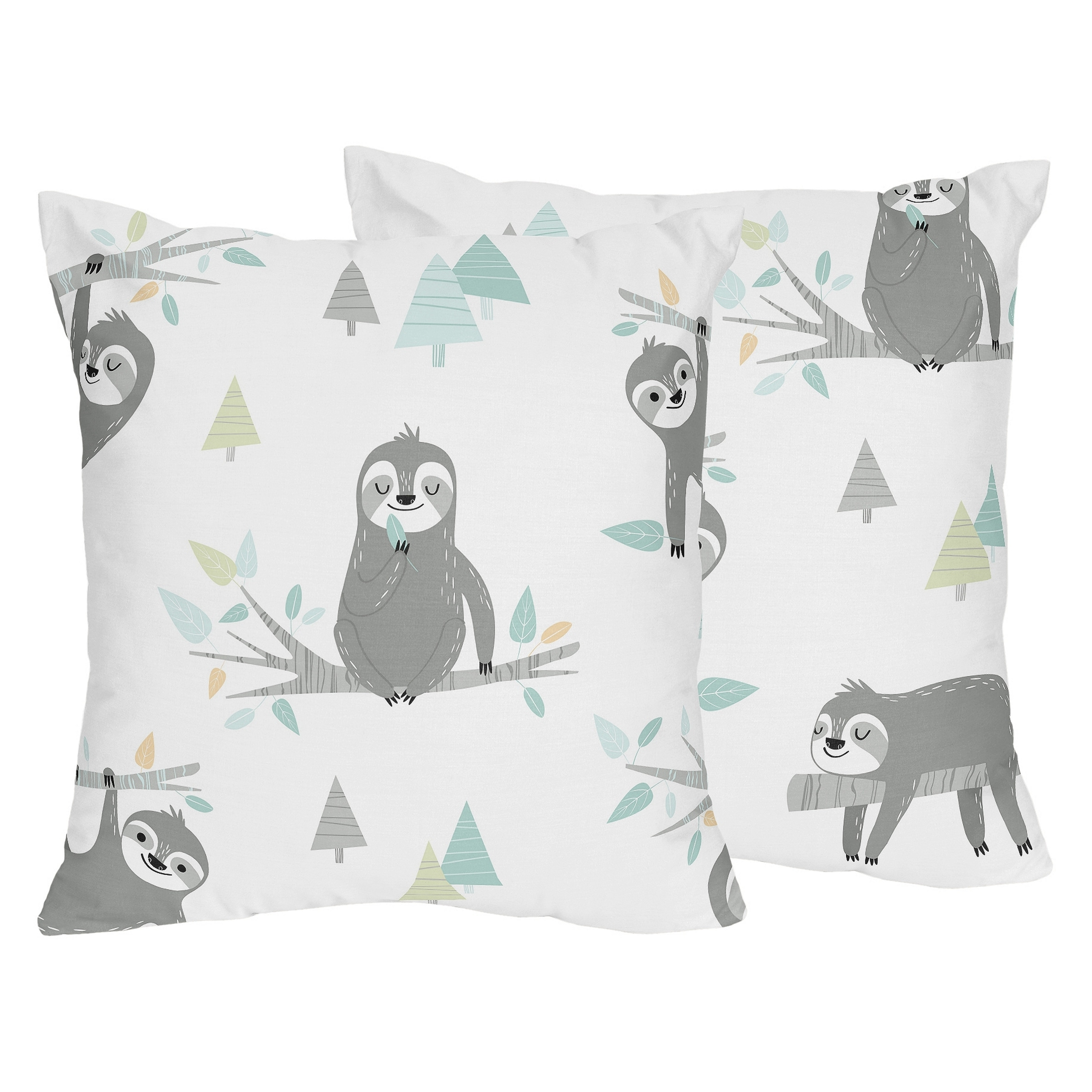 Sweet Jojo Designs Blue Grey Jungle Sloth Leaf 18in Decorative Accent Throw Pillows Set Of 2 Turquoise Gray Green Rainforest Overstock 29900578