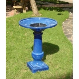 Smart Garden 25372RM1 Athena Glazed Blue Ceramic Birdbath Fountain With Solar on