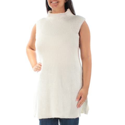 Ralph Lauren Womens Ivory Knitted Sleeveless Turtle Neck Sweater Size: L