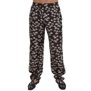 Dolce & Gabbana Brown Hedgehog SILK Pajama Lounge Pants
