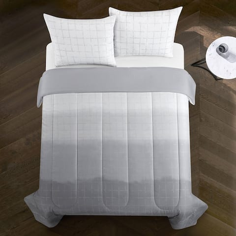 Casa Ombre Metallic Comforter Set, Full/Queen, Grey