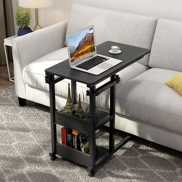 Snack Side Table, Mobile End Table Height Adjustable Bedside Table - On Sale - Overstock - 31297219 - Rustic Brown