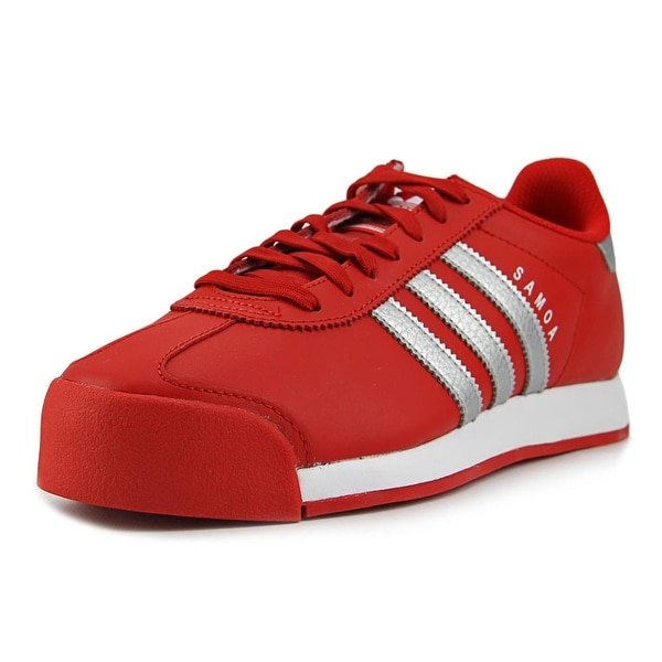 Adidas Samoa Men Round Toe Leather Red Sneakers