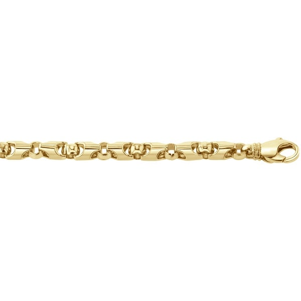 Men's 10K Gold 8 inch Fancy Link Chain Bracelet