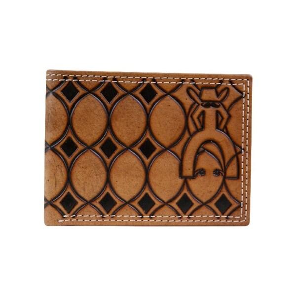 HOOey Western Wallet Mens Punchy Bifold Geometric Chestnut - 4 x 3/4 x 3