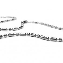Loralyn Designs Stainless Steel Unique Ball Bead Military Bamboo Chain (16-30 Inch)