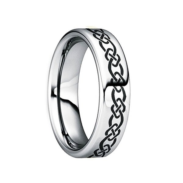 QUINTILLUS Polished Tungsten Wedding Ring with Engraved Celtic Motif by Crown Ring - 6mm