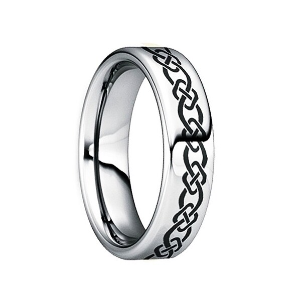 QUINTILLUS Polished Tungsten Wedding Ring with Engraved Celtic Motif by Crown Ring