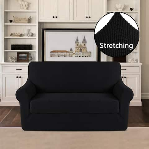 PrimeBeau 2-Piece Jacquard Stretchy Slicpver Loveseat Size - 7598