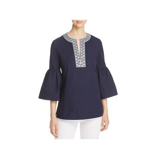 Tory Burch Womens Ariana Tunic Top Bell Sleeves Embroidered