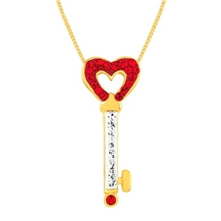 Key Pendant with Swarovski Crystal in 18K Gold-Plated Sterling Silver - Red