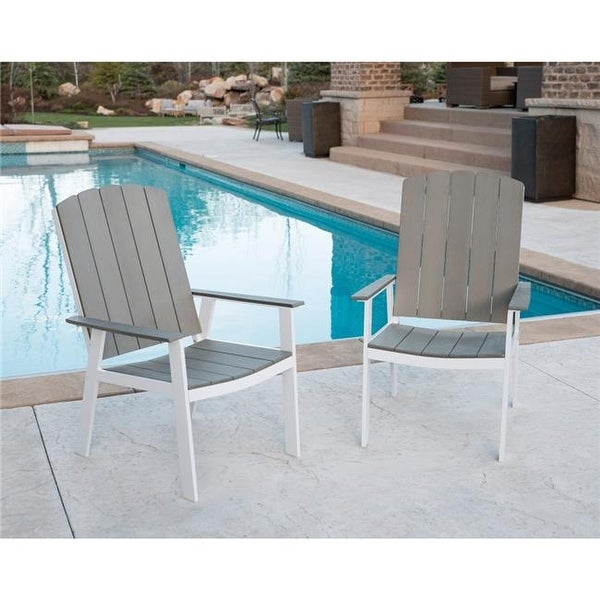 Walker Edison Furniture Coastal Outdoor Dining Chairs In Grey   White