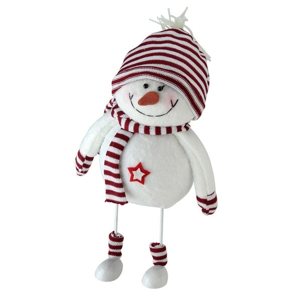 "11"" Albino White and Candy Apple Red Bobble Snowman Figurine"