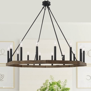 "Link to The Gray Barn Orchard House Vintage Wagon Wheel 16-light Chandelier - 39.75""x 39.75""x 38""-87"" - 39.75""x 39.75""x 38""-87"" Similar Items in Chandeliers"