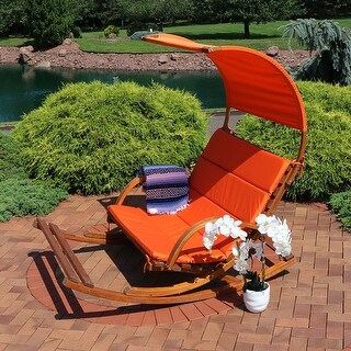 Sunnydaze Outdoor Wooden Rocking Cushioned Loveseat with Footrest and Canopy