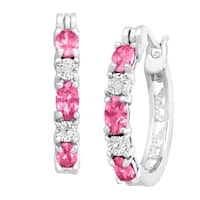 Created Pink Sapphire Hoop Earrings with Diamond Accents in Platinum-Plated Brass