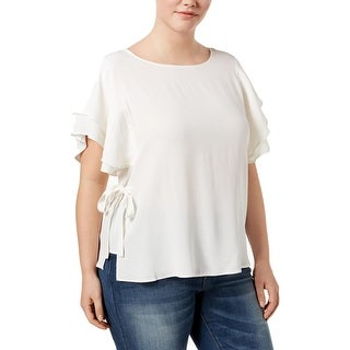 Whitespace Womens Plus Pullover Top Crepe Side Tie
