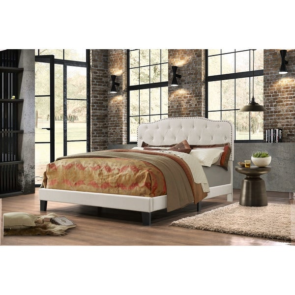 Best Quality Furniture Upholstered Button Tufted Panel Bed. Opens flyout.