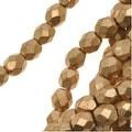 Czech Fire Polished Glass Beads 4mm Round Matte Metallic Gold (50) - Thumbnail 0