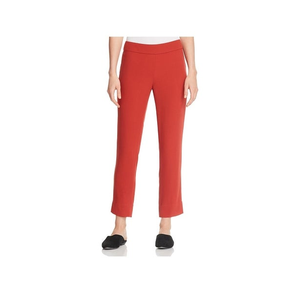 Eileen Fisher Womens Petites Ankle Pants Silk Slim