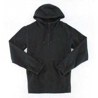 Designer NEW Solid Black Mens Size Medium M 1/2 Zip Hooded Sweater