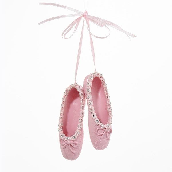 "4.25"" Pink Glittered Ballet Slippers on Pink Ribbon Hanging Christmas Ornament"