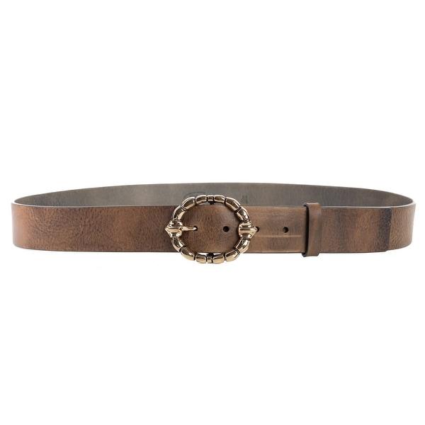 Roberto Cavalli Womens Leather Brown Braided Gold Buckle Belt