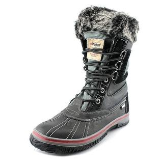 Pajar Tuscan Men Round Toe Leather Black Winter Boot