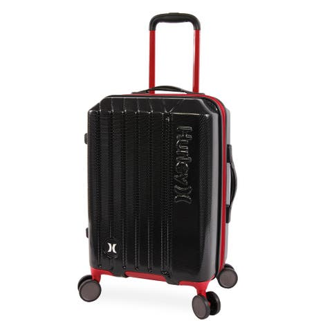 Hurley Swiper 21-inch Carry On Hardside Spinner Suitcase - Black/Red