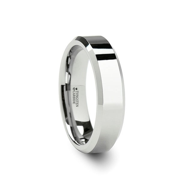 THORSTEN - LINCOLN White Tungsten Wedding Band with Beveled Edges - 6mm