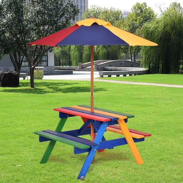 Costway 4 Seat Kids Picnic Table W Umbrella Garden Yard Folding Children Bench Outdoor Free