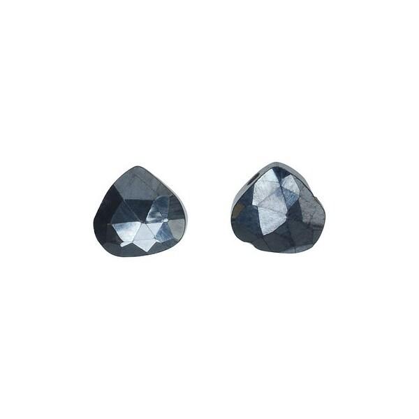 Hematite Gemstone Beads, Faceted Heart Briolettes 7-11mm, 6 Pieces, Metallic Black