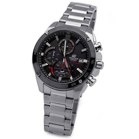 Casio Men's Edifice Solar Powered Quartz Chronograph Watch (Silver)