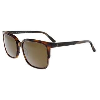 Shop Calvin Klein CK8574S 244 Brown Horn Rectangle Sunglasses - 56 ... e20ebafcb5