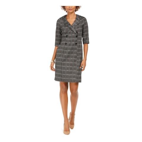 CONNECTED APPAREL Black 3/4 Sleeve Short Sheath Dress Size 16