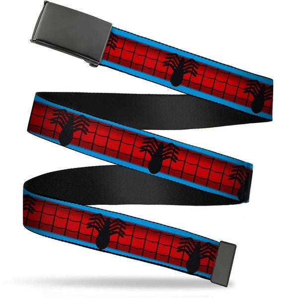 Marvel Universe Blank Black Buckle Spider Man Costume Stripe Blue Red Web Belt