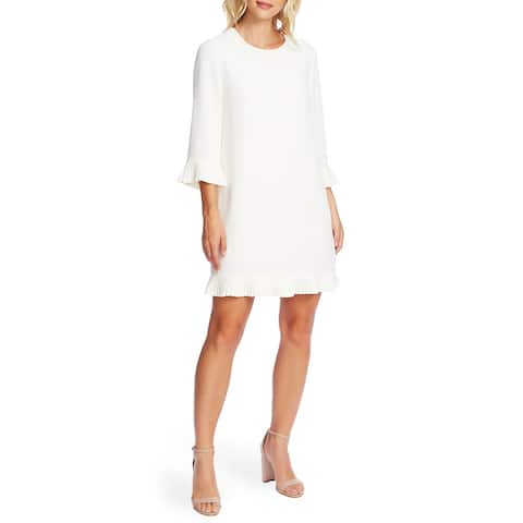Cece Women's Pleat Detail Moss Crepe Shift Dress White Size Extra Small